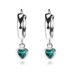 Šperky eshop - Strieborné 925 náušnice, hladký lesklý krúžok, tyrkysové zirkónové srdiečko I40.25