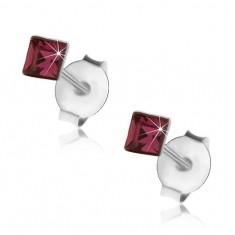 Šperky eshop - Náušnice zo striebra 925, štvorček - tmavofialový Swarovski krištálik, 3 mm PC08.25