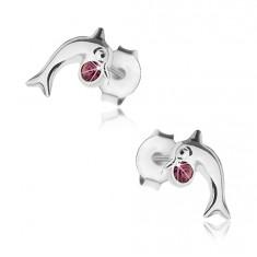 Šperky eshop - Puzetové náušnice, striebro 925, lesklý skáčuci delfín, krištálik fialovej farby PC24.19