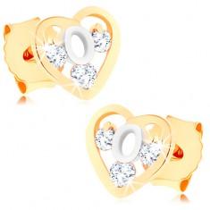 Šperky eshop - Dvojfarebné zlaté náušnice 375 - srdcová kontúra, slučka z bieleho zlata, zirkóny GG60.01