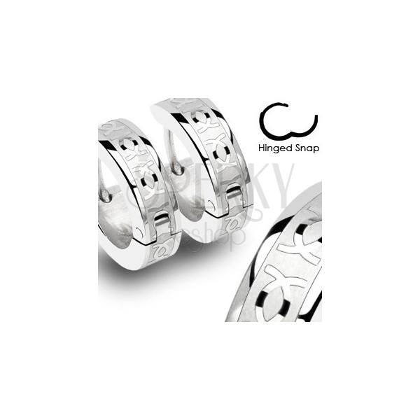 Oceľové náušnice s dvojitým CC - pár