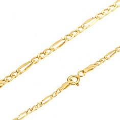 Šperky eshop - Zlatý náramok 585, tri oválne očká, jeden podlhovastý článok, 220 mm GG108.05
