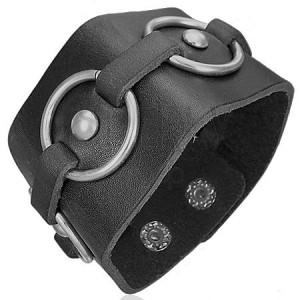 Čierny kožený náramok - kovové kruhy