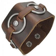 Hnedý kožený náramok - kovové kruhy
