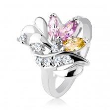 Lesklý prsteň, zrnkové farebné zirkóny, lesklé slzičky a trblietavá vlnka