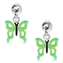 Strieborné náušnice 925, číry Swarovského krištáľ, zeleno-modrý motýľ