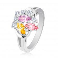 Ligotavý prsteň, farebné zirkónové zrnká a okrúhle číre zirkóniky, lesklé ramená