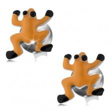 Náušnice zo striebra 925, oranžová glazúrovaná žabka, čierne oči a nôžky