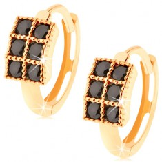 Šperky eshop - Okrúhle náušnice zo žltého 14K zlata - obdĺžnik vykladaný čiernymi zirkónmi GG93.26