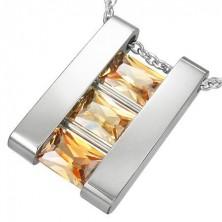 Oceľový prívesok rebrík so svetlými kameňmi