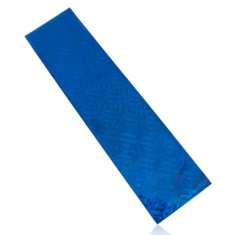Celofánový sáčok na darček, modrá farba, štvorčeky, dúhové odlesky