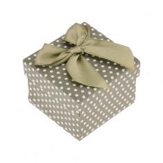Šperky eshop - Darčeková krabička na prsteň alebo náušnice, zelený povrch, bodky, mašľa Y40.5