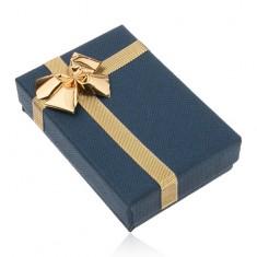 Šperky eshop - Papierová krabička na náušnice, tmavomodrý odtieň, lesklá mašľa zlatej farby Y40.1