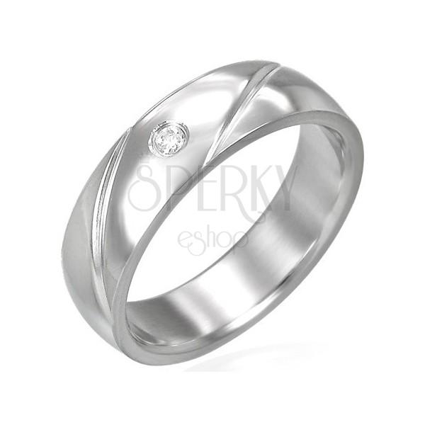 Oceľový prsteň obrúčka so zirkónom
