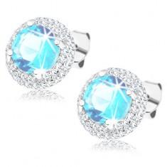 58123f033 Šperky eshop - Strieborné náušnice 925, okrúhly zirkón akvamarínovej farby,  číry lem, puzetky