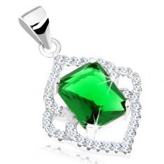 Strieborný prívesok 925, smaragdovo zelený obdĺžnik, číry špicatý lem