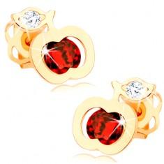 Šperky eshop - Náušnice zo žltého 14K zlata - ligotavé červené jabĺčko, číry lístok GG102.25