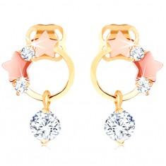 Šperky eshop - Zlaté náušnice 585 - tenká obruč, hviezdičky z ružového zlata, číre zirkóny GG102.16
