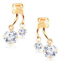 6c8451290 Šperky eshop - Náušnice zo žltého 14K zlata - dva lesklé oblúčiky,  trblietavé číre zirkóny GG102.35