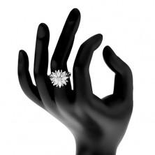 Lesklý prsteň, strieborný odtieň, ligotavý kvet z farebných zrniečkových zirkónov