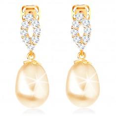 Šperky eshop - Náušnice zo žltého 14K zlata - trblietavý obrys zrnka, oválna perla GG102.36