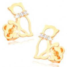 Šperky eshop - Náušnice zo žltého 14K zlata - obrys mačky so zirkónovým obojkom GG107.05