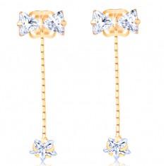 Šperky eshop - Zlaté náušnice 585 - číra mašlička, zirkónová hviezda na retiazke GG107.17