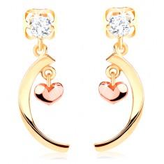 Šperky eshop - Dvojfarebné náušnice zo 14K zlata - lesklý oblúk, malé vypuklé srdiečko GG107.04