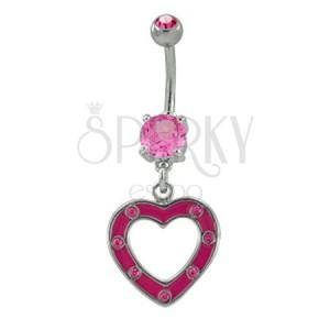 Piercing do pupku ružové srdiečko so zirkónmi