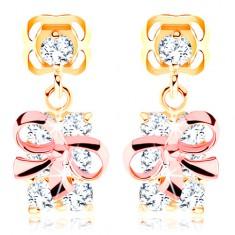 Šperky eshop - Zlaté náušnice 585 - balíček s mašľou z ružového zlata, číre zirkóny GG103.01