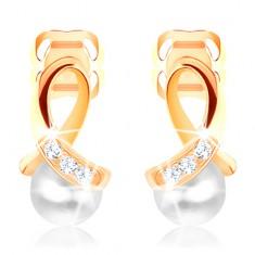 Šperky eshop - Náušnice v žltom 14K zlate - lesklá slučka vykladaná zirkónikmi, guľatá perlička GG103.30
