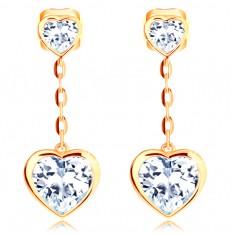 be1b22780 Šperky eshop - Náušnice v žltom 14K zlate - dve číre srdiečka, retiazka z  oválnych očiek GG103.08