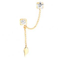 Šperky eshop - Zlatá náušnica 585 s dvoma puzetkami, číre zirkóny a list na retiazke GG103.03