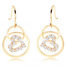 Šperky eshop - Náušnice zo žltého 14K zlata - prepojené obruče, zirkónová kontúra srdca GG107.33