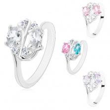 Ligotavý prsteň zdobený farebnými zirkónovými oválmi a čírymi zirkónikmi