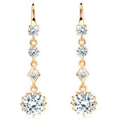 Šperky eshop - Náušnice zo žltého 14K zlata - štyri číre ligotavé zirkóny, háčiky GG102.31