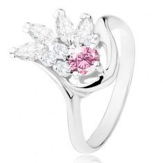 Šperky eshop - Prsteň v striebornom odtieni, číry zirkónový vejár, ružový zirkón R31.11 - Veľkosť: 49 mm