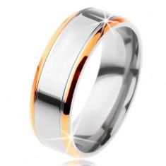 Prsteň z titánu - lesklý pás striebornej farby so zárezmi a lem zlatej farby