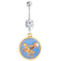 Oceľový piercing do pupku - modrý kruh s milostnou polohou na koni