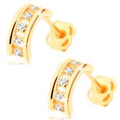 Šperky eshop - Náušnice zo žltého 14K zlata - polkruhy zdobené čírymi zirkónmi, puzetky GG106.05