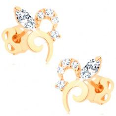 Šperky eshop - Náušnice zo žltého 14K zlata - kvet zdobený trblietavými čírymi zirkónmi GG106.17
