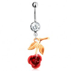 Piercing do pupka z ocele 316L, ruža zlatej farby s červenými lupeňmi