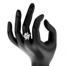 Ligotavý prsteň v striebornej farbe, brúsené číre zrniečka, okrúhle zirkóniky