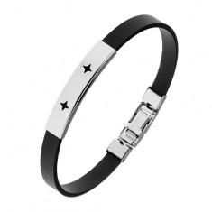 Gumený náramok čiernej farby, lesklá oceľová známka, výrezy - hviezdičky