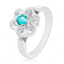 Trblietavý prsteň zdobený čírym kvietkom so zirkónom svetlomodrej farby