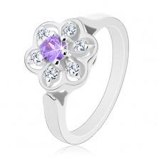 Ligotavý prsteň v striebornom odtieni, fialovo-číry zirkónový kvietok