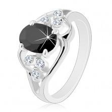 Prsteň v striebornom odtieni, čierny oválny zirkón, číre zirkóniky, vlnky