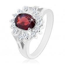 Lesklý prsteň s rozdelenými ramenami, veľký tmavočervený zirkón, číry lem