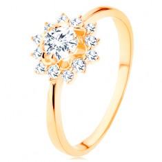 Prsteň zo žltého 14K zlata - číre zirkónové slnko, lesklé úzke ramená