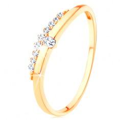 Prsteň zo žltého 14K zlata - hladká vlnka s čírym zirkónom, zirkónový pás